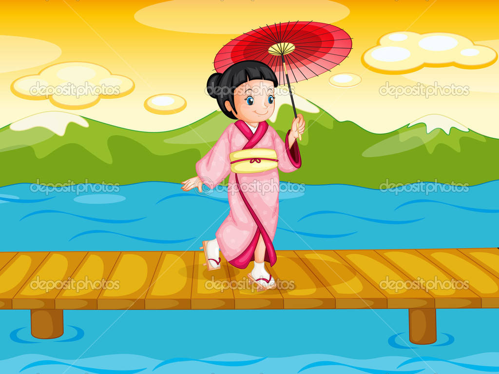 Illlustration of a chinese woman on bridge  Stock Vector #10748874