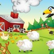 Vector de stock : Farm scene