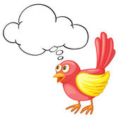 Red bird thinking — Stock Vector
