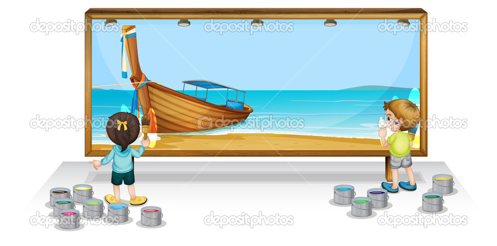 Illustration of children painting a banner — Stock Vector #10764424