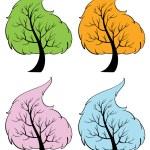 Seasonal trees — Stock Vector