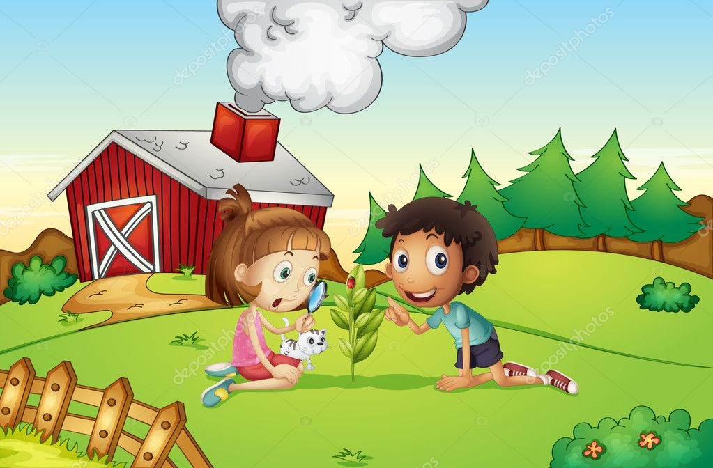 Illustration of kids at a farm — Stock Vector #10804411
