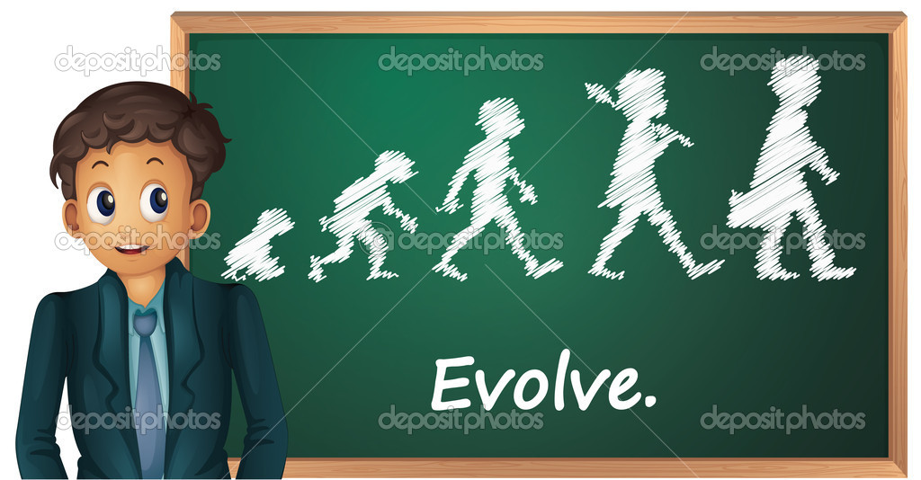Illustration of a business man presenting evolution — Stock Vector #10939142
