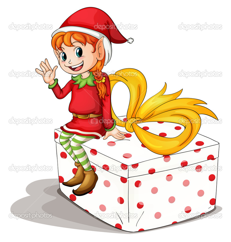 Illustration of a christmas elf — Imagen vectorial #10947299