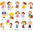 Stock Vector: Mixed kids