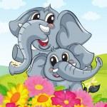 elefantes — Vector de stock