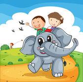 Elephant ride — Stock Vector