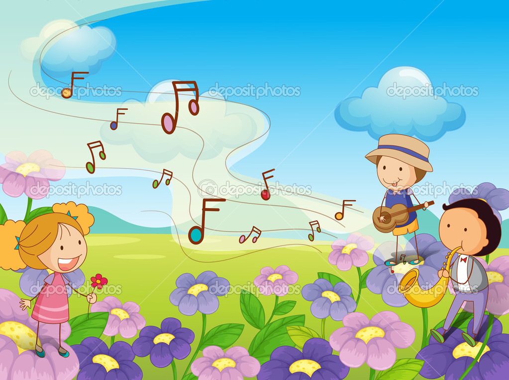 Illustration of musical kids — Stock Vector #10984242