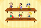 Kids on a shelf — Stock Vector