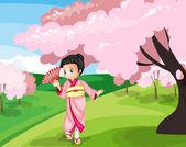 Japanese girl in garden — Stock Vector