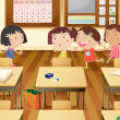Stock Vector: Girls in classroom