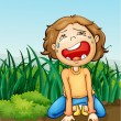 Boy crying alone - Stock Vector