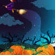 Witch flying on broom - Stock Vector