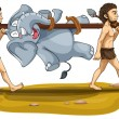 Tribal men carrying elephant — Stock Vector