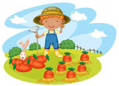 Boy working in farms — Stock Vector