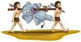 Tribal men carrying elephant — Stock Vector