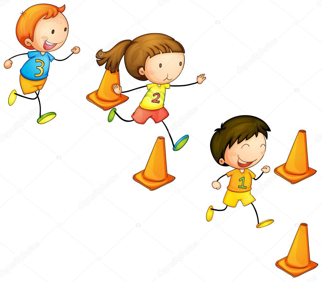 disegno Chicos Balcone : Running kids ? Stock Vector ? interactimages #11163133