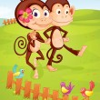 Stock Vector: Two monkeys