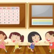 Girls in classroom — Stock Vector