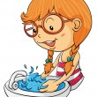 Girl washing hands — Imagen vectorial