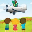 Kids watching crocodile flying plane — Stock Vector #11171066