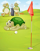 Tortoise playing golf — Stock Vector