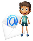 Boy with envelop — Stock Vector