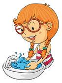 Chica lavarse las manos — Vector de stock