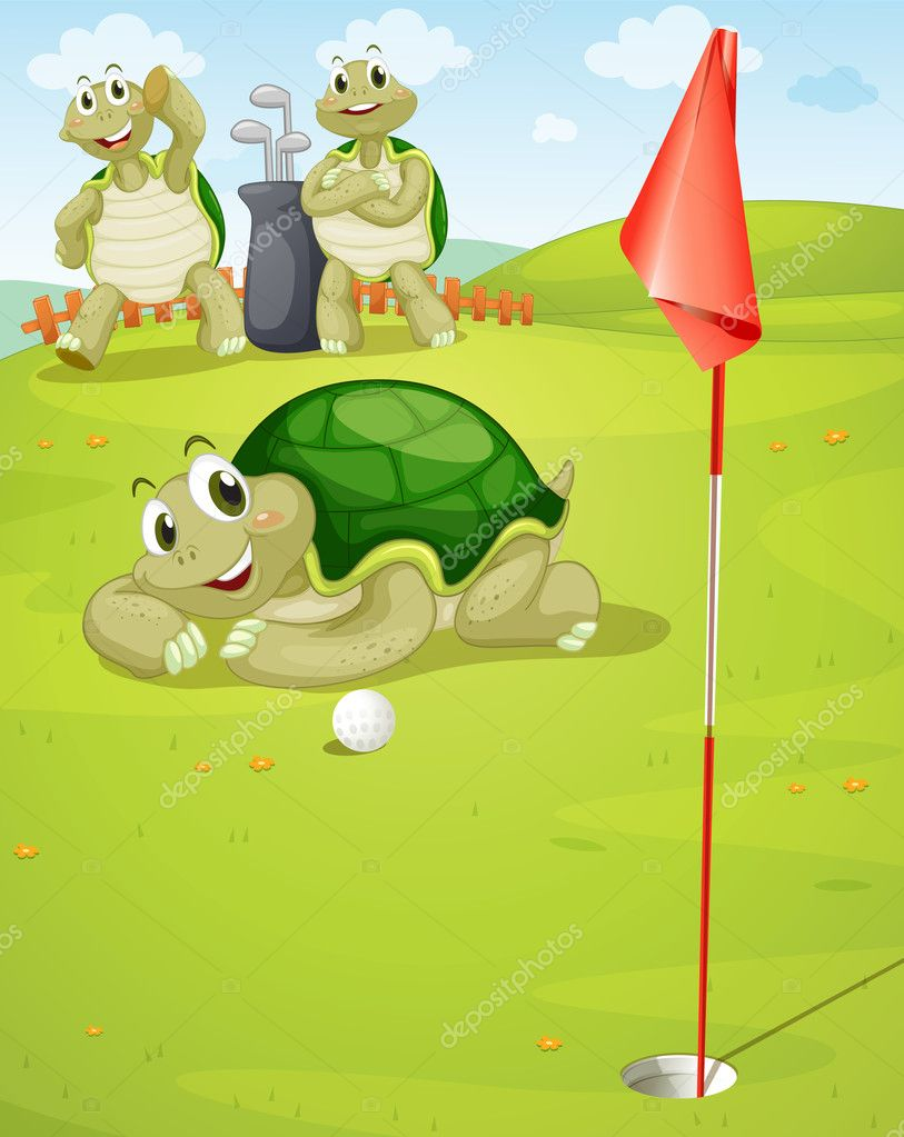 Illustration of tortoise playing golf on golf ground  Stock Vector #11171002