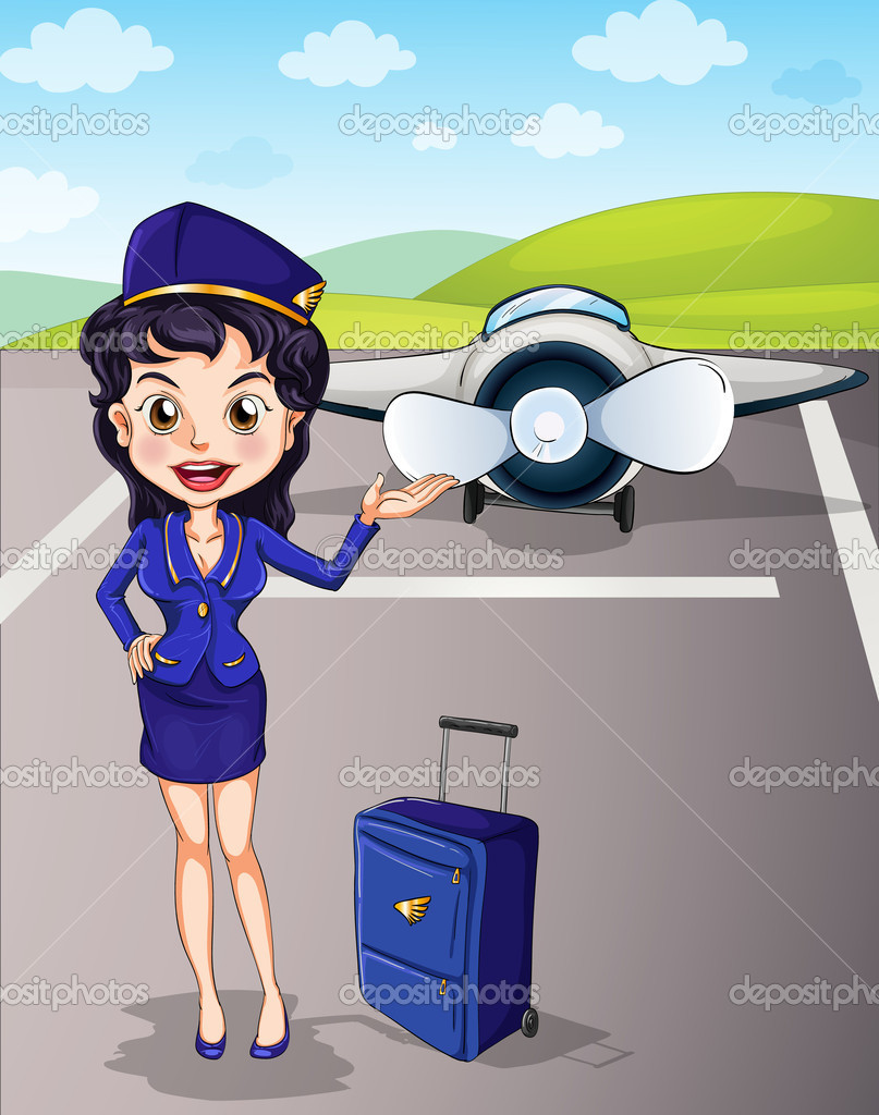 Illustration of a aircraft and girl with luggage — Stock Vector #11171005