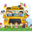 Kids with school bus — Stock Vector