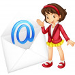 Girl with mail envelop — Stock Vector #11279289