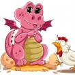 Hen and baby dinosaur - Image vectorielle