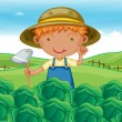 Boy working in farms — Wektor stockowy #11279347