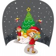 Stock Vector: Girls celebrating christmas