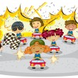 Kids driving cars - Stock Vector