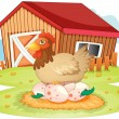 Farm house and hen - Stock Vector