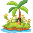 Girl on an island - Stock Vector