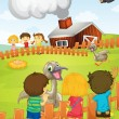 Kids at the farm - Stock Vector