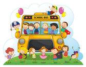 Kids with school bus — Stock Vector
