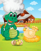 Farm house and animals — Stock Vector