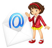 A girl with mail envelop — Stock Vector