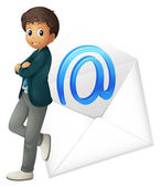A boy with mail envelop — Stock Vector