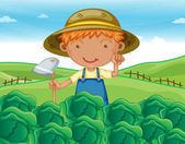 Boy working in farms — Stockvector