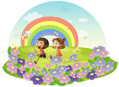 Kids in a field chasing insects — Stock Vector
