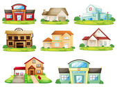 Houses and other building — Vector de stock