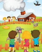 Kids at the farm — Stock Vector