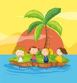 Kids on an island — Stock Vector