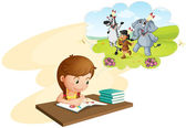 Girl doing homework — Stock Vector