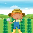 Stock Vector: Boy working in farms